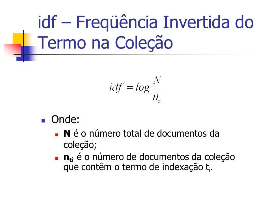 idf – Freqüência Invertida do Termo na Coleção Onde: N é o número total de documentos da coleção; n ti é o número de documentos da coleção que contêm