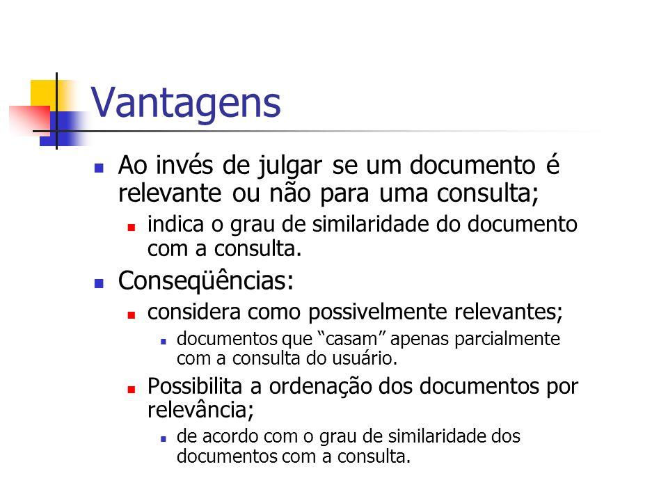 Vantagens Ao invés de julgar se um documento é relevante ou não para uma consulta; indica o grau de similaridade do documento com a consulta. Conseqüê