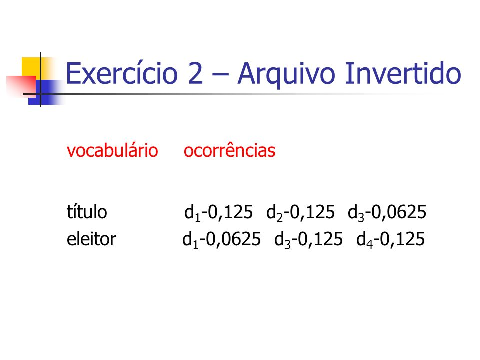 Exercício 2 – Arquivo Invertido vocabulário ocorrências título d 1 -0,125 d 2 -0,125 d 3 -0,0625 eleitor d 1 -0,0625 d 3 -0,125 d 4 -0,125