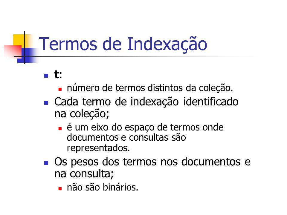 Termos de Indexação t: número de termos distintos da coleção. Cada termo de indexação identificado na coleção; é um eixo do espaço de termos onde docu