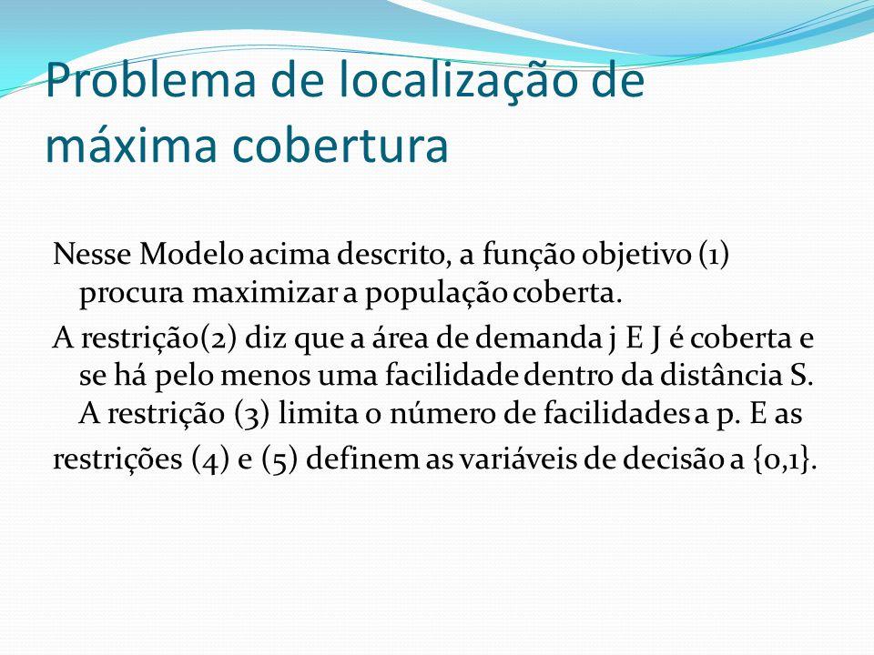 Problema de localização de máxima cobertura Nesse Modelo acima descrito, a função objetivo (1) procura maximizar a população coberta. A restrição(2) d