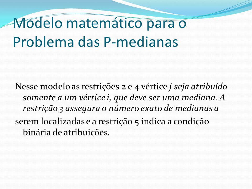 Modelo matemático para o Problema das P-medianas Nesse modelo as restrições 2 e 4 vértice j seja atribuído somente a um vértice i, que deve ser uma me
