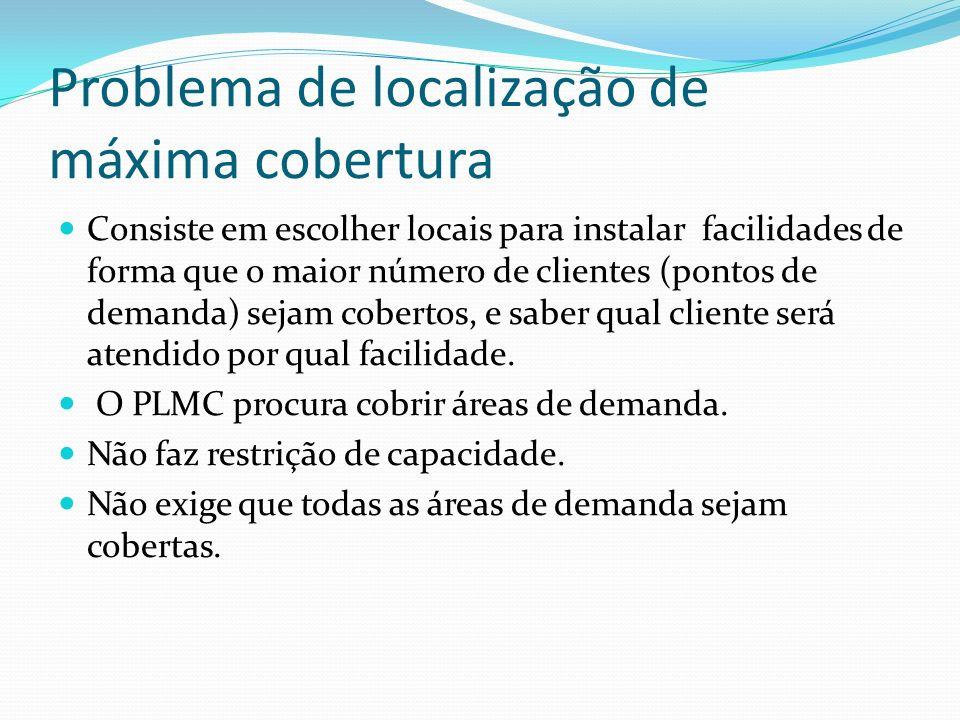 Problema de localização de máxima cobertura Consiste em escolher locais para instalar facilidades de forma que o maior número de clientes (pontos de d