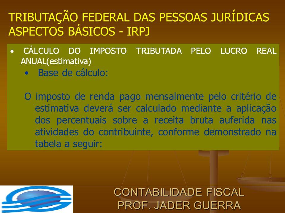 CONTABILIDADE FISCAL PROF. JADER GUERRA TRIBUTAÇÃO FEDERAL DAS PESSOAS JURÍDICAS ASPECTOS BÁSICOS - IRPJ CÁLCULO DO IMPOSTO TRIBUTADA PELO LUCRO REAL