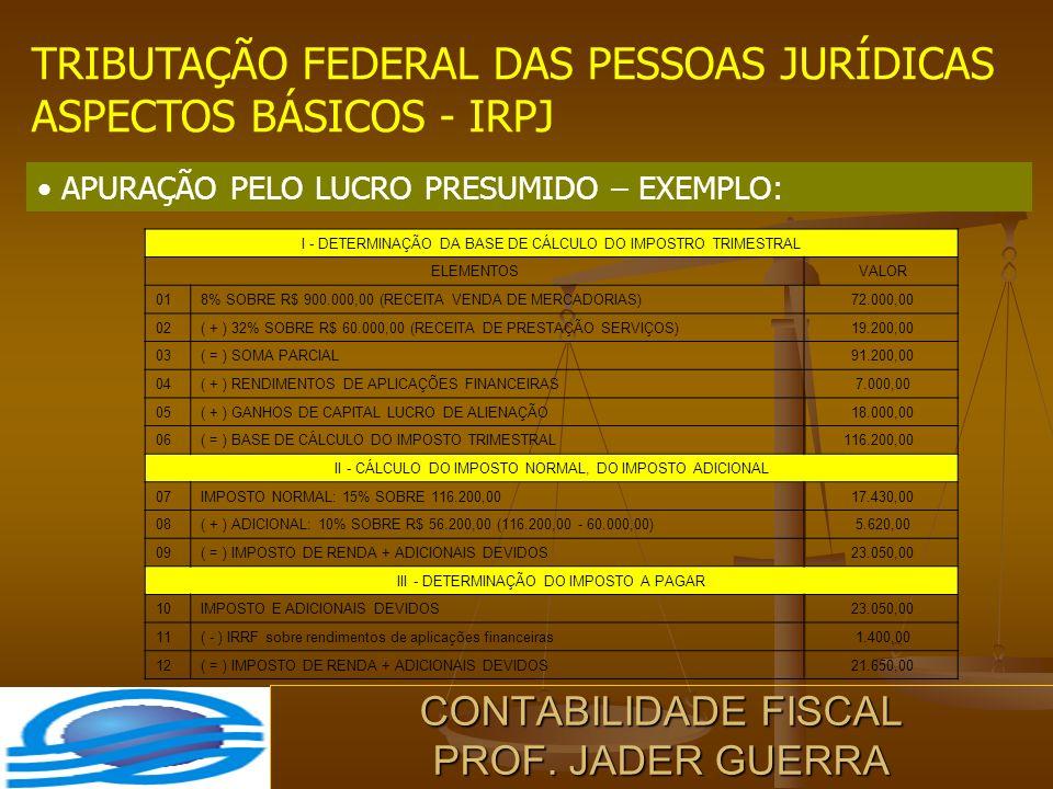CONTABILIDADE FISCAL PROF. JADER GUERRA TRIBUTAÇÃO FEDERAL DAS PESSOAS JURÍDICAS ASPECTOS BÁSICOS - IRPJ APURAÇÃO PELO LUCRO PRESUMIDO – EXEMPLO: I -