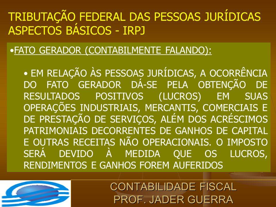 CONTABILIDADE FISCAL PROF. JADER GUERRA TRIBUTAÇÃO FEDERAL DAS PESSOAS JURÍDICAS ASPECTOS BÁSICOS - IRPJ FATO GERADOR (CONTABILMENTE FALANDO): EM RELA