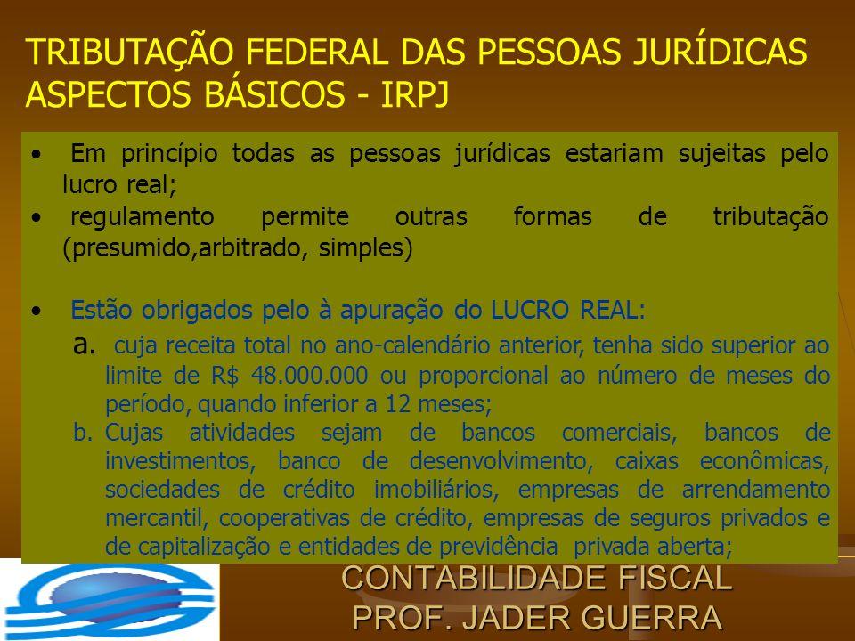 CONTABILIDADE FISCAL PROF. JADER GUERRA TRIBUTAÇÃO FEDERAL DAS PESSOAS JURÍDICAS ASPECTOS BÁSICOS - IRPJ Em princípio todas as pessoas jurídicas estar