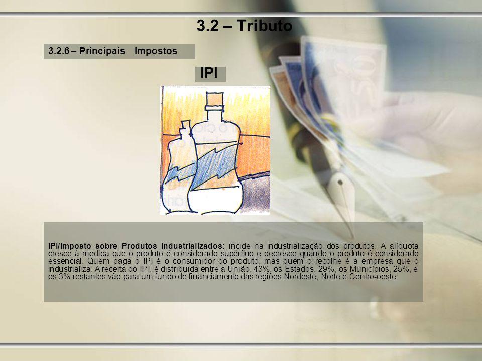 3.2 – Tributo 3.2.6 – Principais Impostos IPI IPI/Imposto sobre Produtos Industrializados: incide na industrialização dos produtos. A alíquota cresce