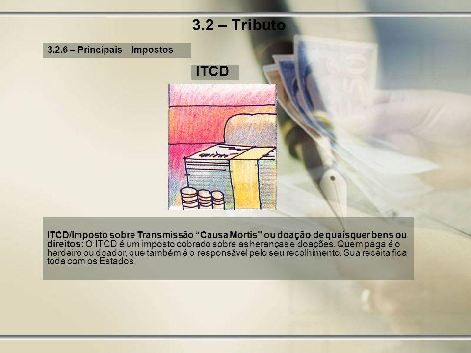 3.2 – Tributo 3.2.6 – Principais Impostos ITCD ITCD/Imposto sobre Transmissão Causa Mortis ou doação de quaisquer bens ou direitos: O ITCD é um impost