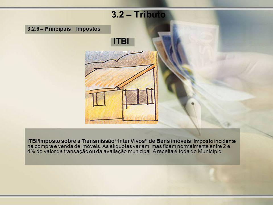 3.2 – Tributo 3.2.6 – Principais Impostos ITBI ITBI/Imposto sobre a Transmissão Inter Vivos de Bens imóveis: Imposto incidente na compra e venda de im