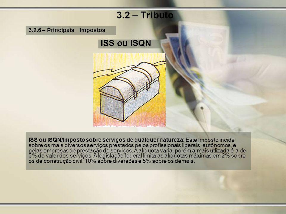 3.2 – Tributo 3.2.6 – Principais Impostos ISS ou ISQN ISS ou ISQN/Imposto sobre serviços de qualquer natureza: Este Imposto incide sobre os mais diver