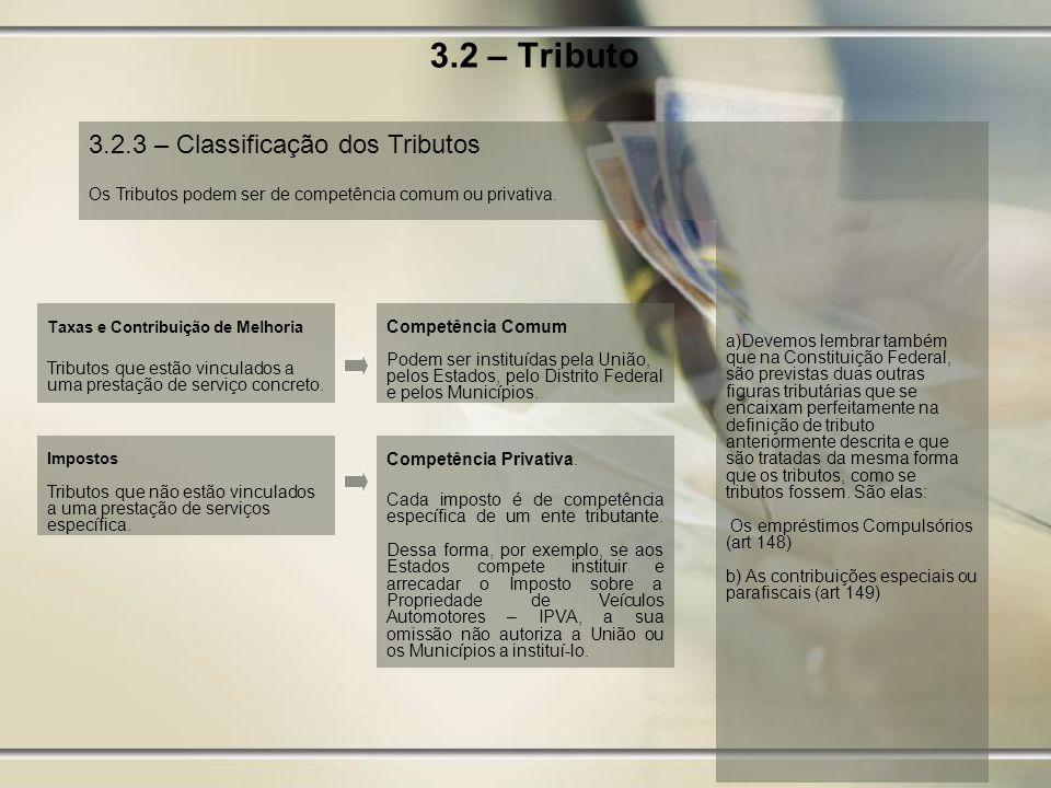 3.2 – Tributo 3.2.3 – Classificação dos Tributos a)Devemos lembrar também que na Constituição Federal, são previstas duas outras figuras tributárias q