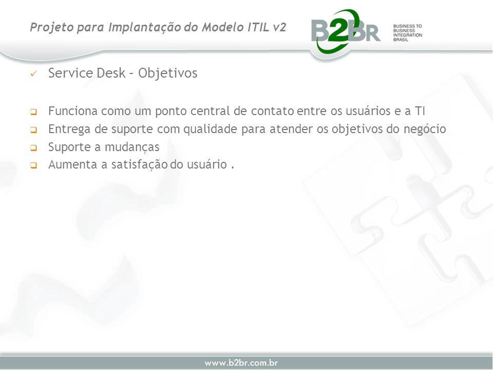 Service Desk – Objetivos Funciona como um ponto central de contato entre os usuários e a TI Entrega de suporte com qualidade para atender os objetivos