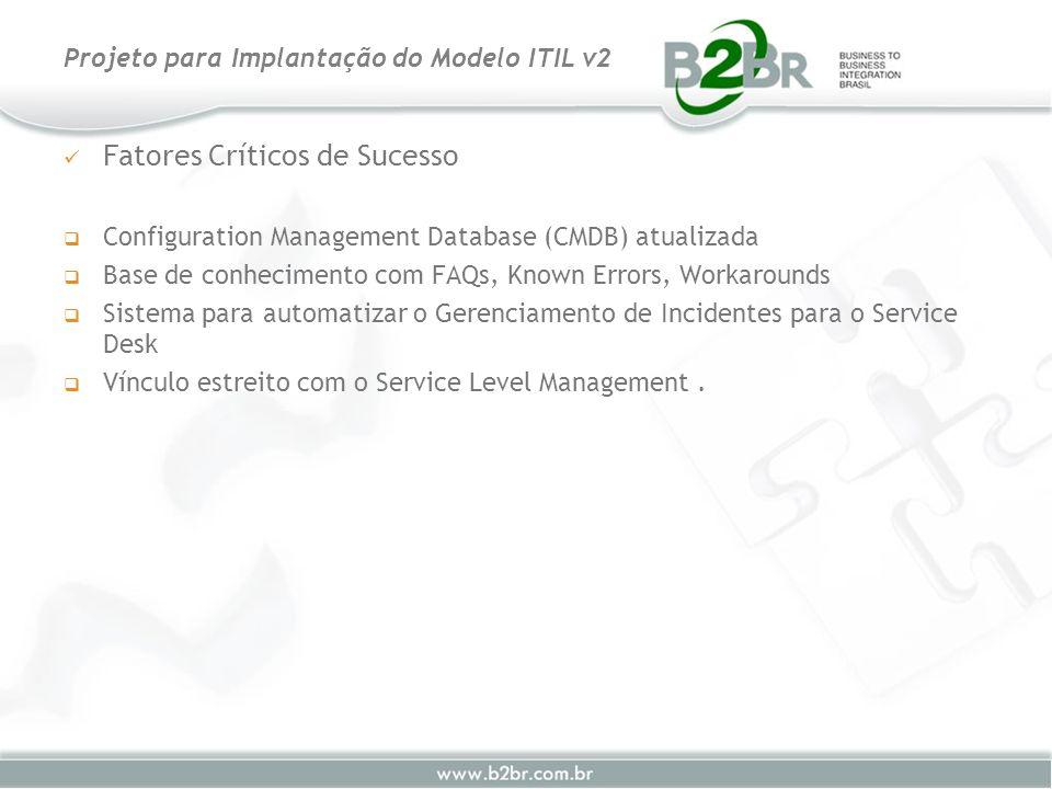 Fatores Críticos de Sucesso Configuration Management Database (CMDB) atualizada Base de conhecimento com FAQs, Known Errors, Workarounds Sistema para