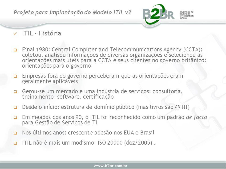 ITIL - História Final 1980: Central Computer and Telecommunications Agency (CCTA): coletou, analisou informações de diversas organizações e selecionou