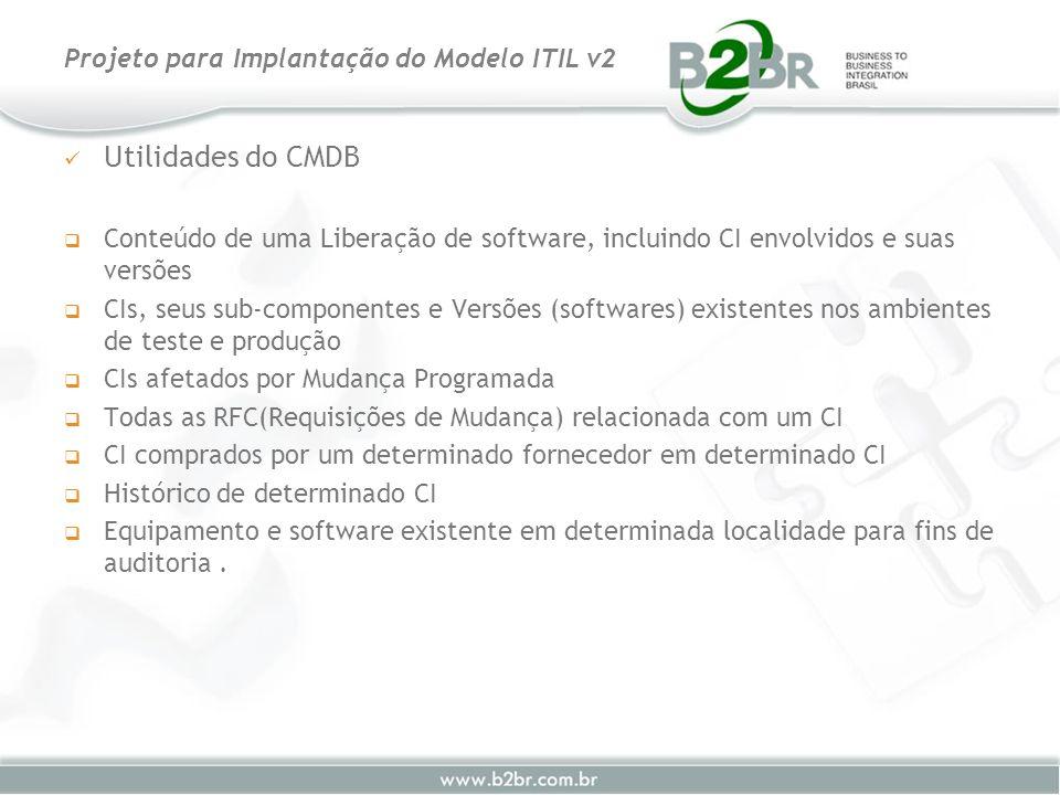 Utilidades do CMDB Conteúdo de uma Liberação de software, incluindo CI envolvidos e suas versões CIs, seus sub-componentes e Versões (softwares) exist