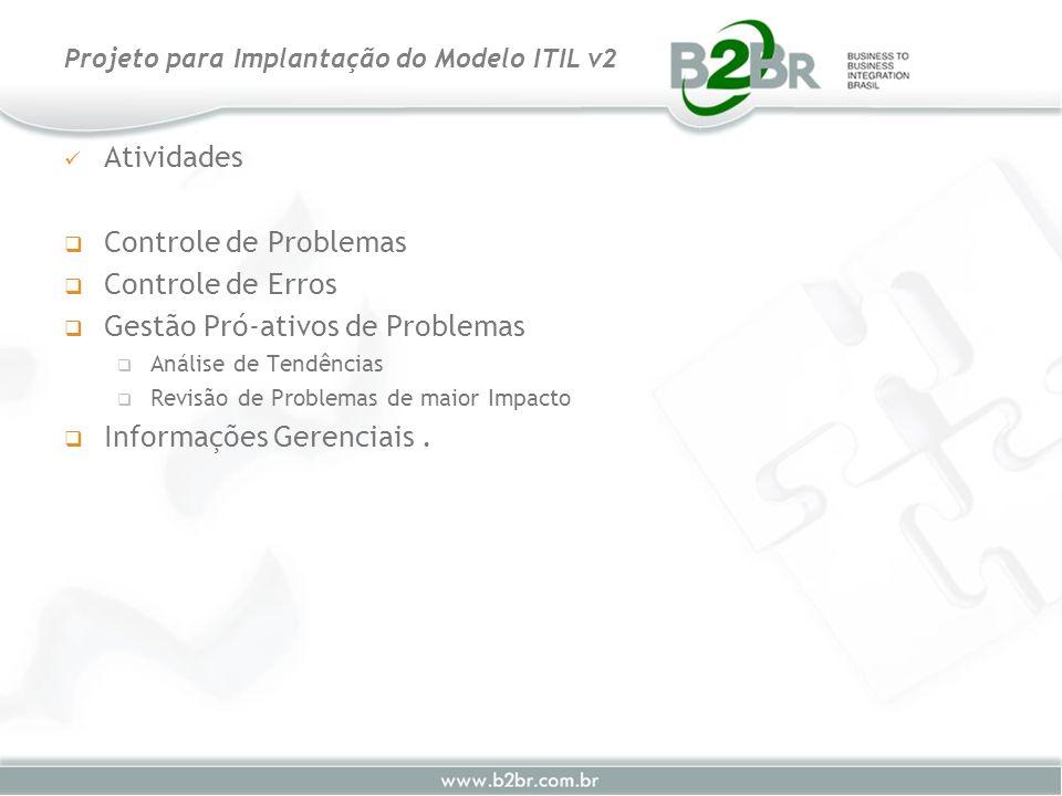 Atividades Controle de Problemas Controle de Erros Gestão Pró-ativos de Problemas Análise de Tendências Revisão de Problemas de maior Impacto Informaç