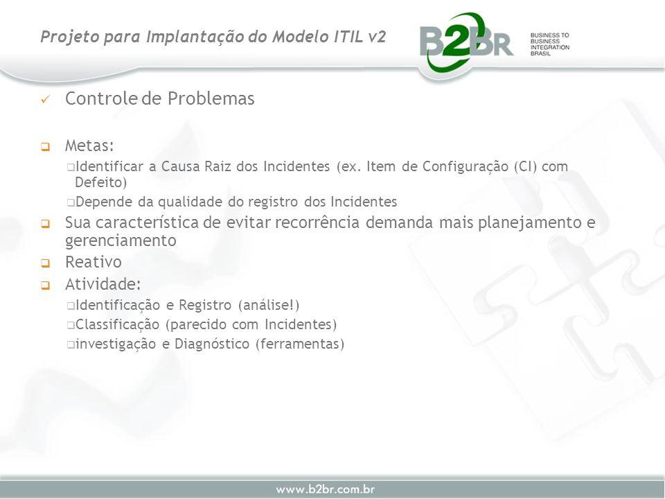 Controle de Problemas Metas: Identificar a Causa Raiz dos Incidentes (ex. Item de Configuração (CI) com Defeito) Depende da qualidade do registro dos