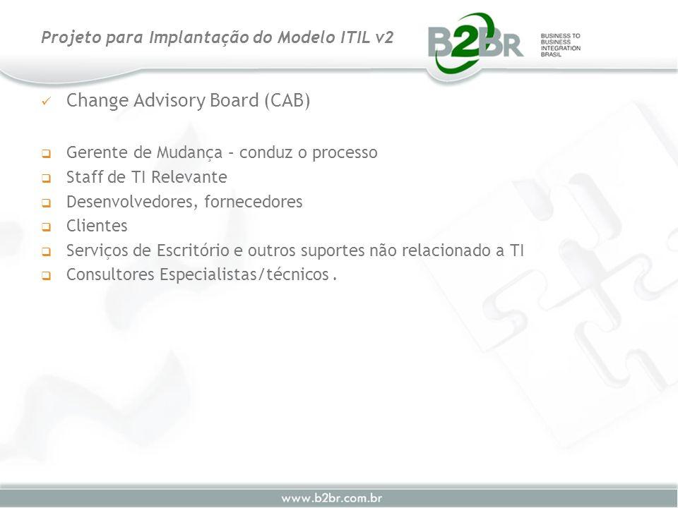 Change Advisory Board (CAB) Gerente de Mudança – conduz o processo Staff de TI Relevante Desenvolvedores, fornecedores Clientes Serviços de Escritório