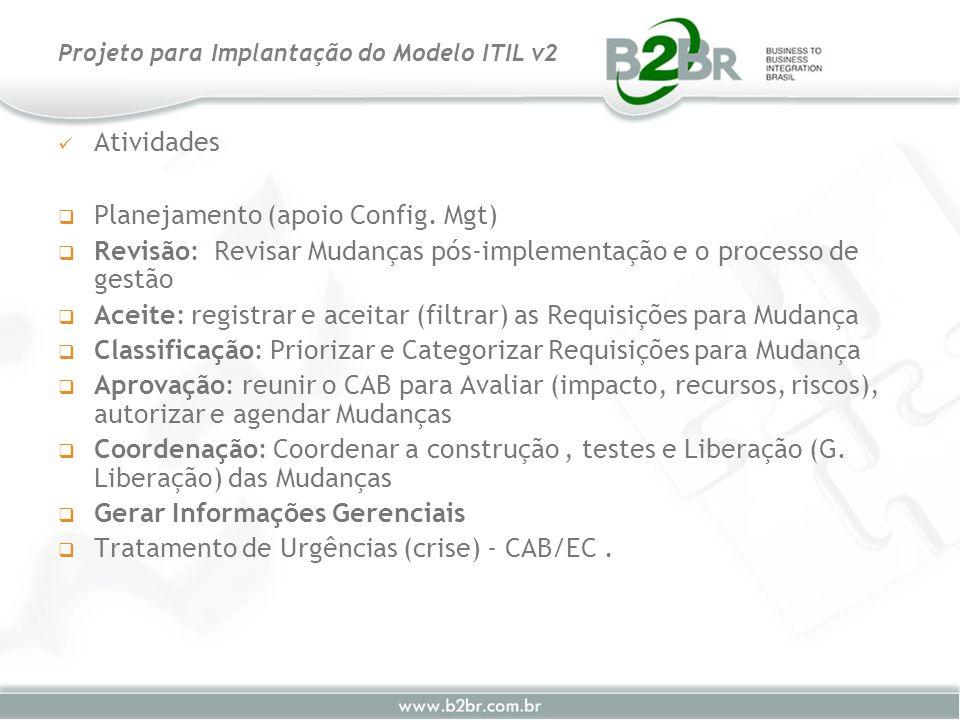 Atividades Planejamento (apoio Config. Mgt) Revisão: Revisar Mudanças pós-implementação e o processo de gestão Aceite: registrar e aceitar (filtrar) a