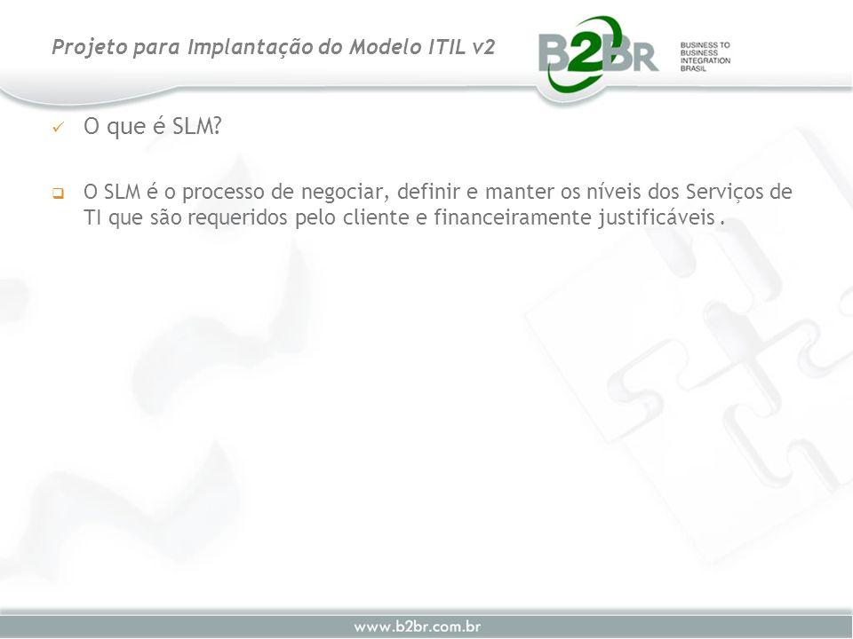 O que é SLM? O SLM é o processo de negociar, definir e manter os níveis dos Serviços de TI que são requeridos pelo cliente e financeiramente justificá