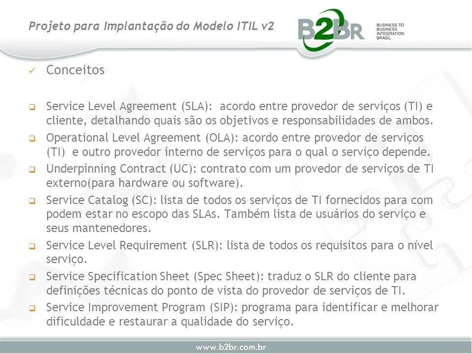 Conceitos Service Level Agreement (SLA): acordo entre provedor de serviços (TI) e cliente, detalhando quais são os objetivos e responsabilidades de am