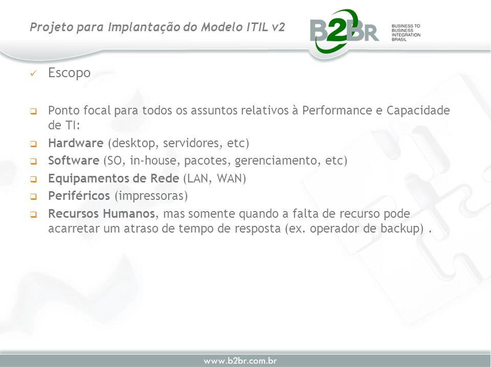 Escopo Ponto focal para todos os assuntos relativos à Performance e Capacidade de TI: Hardware (desktop, servidores, etc) Software (SO, in-house, paco