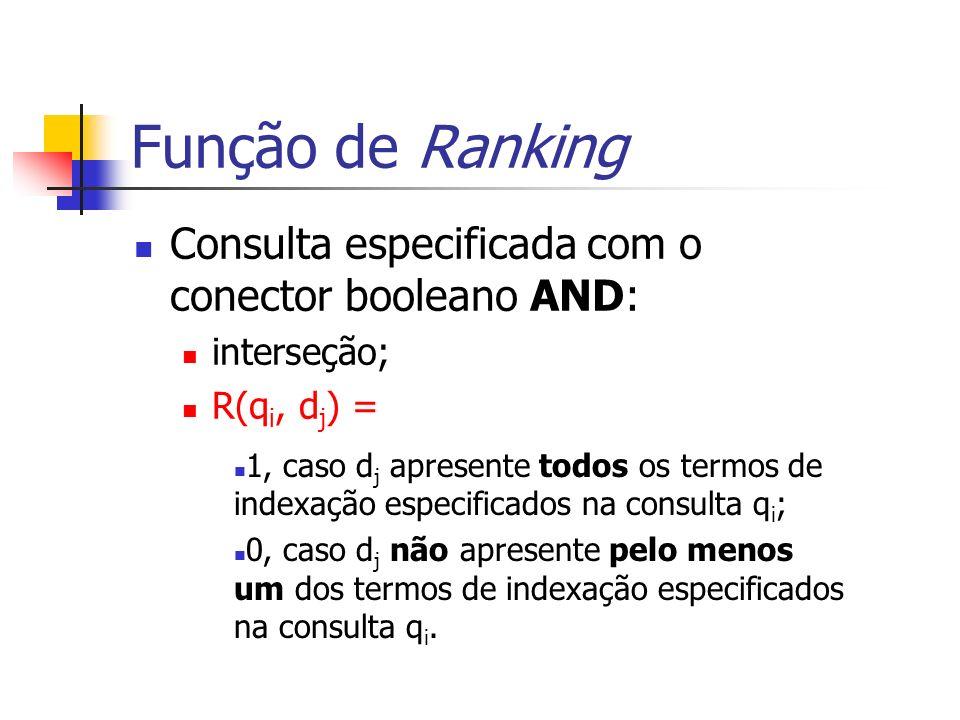 Função de Ranking Consulta especificada com o conector booleano AND: interseção; R(q i, d j ) = 1, caso d j apresente todos os termos de indexação esp