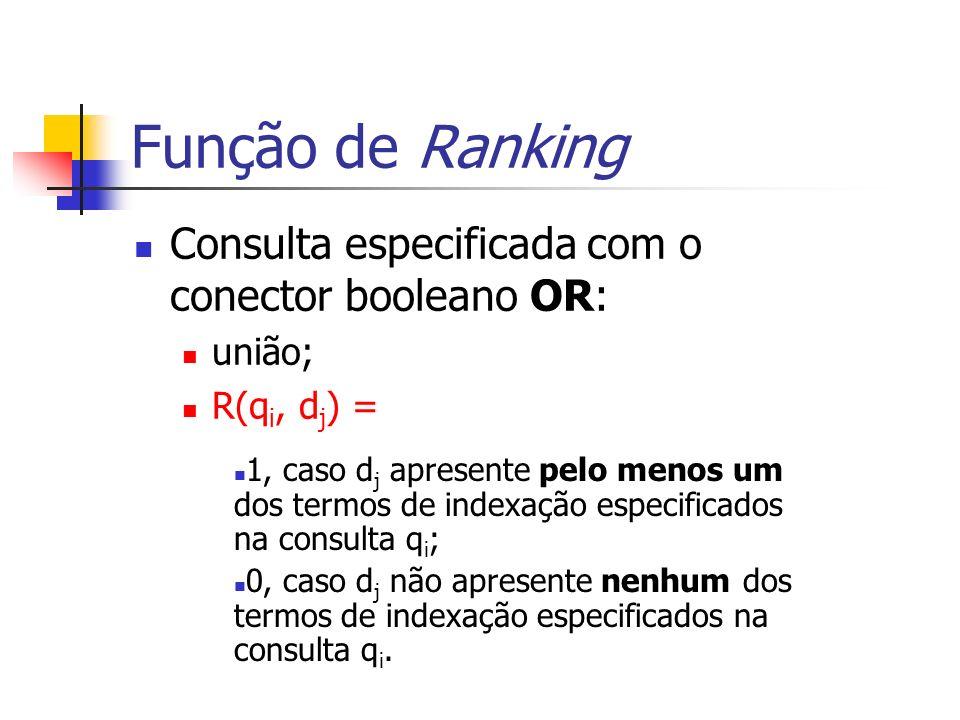 Função de Ranking Consulta especificada com o conector booleano OR: união; R(q i, d j ) = 1, caso d j apresente pelo menos um dos termos de indexação