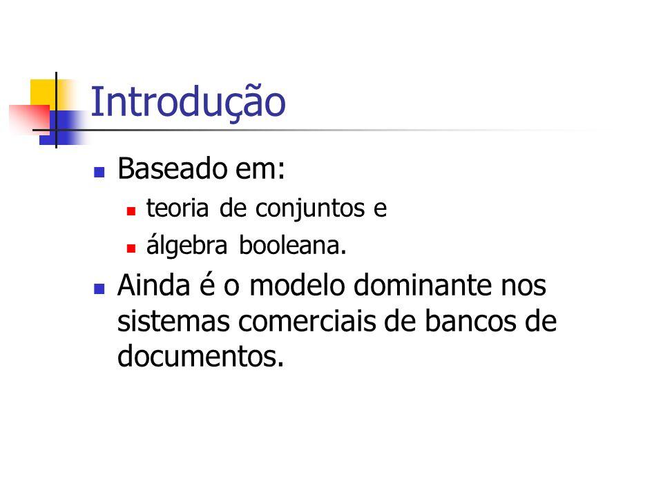 Introdução Baseado em: teoria de conjuntos e álgebra booleana. Ainda é o modelo dominante nos sistemas comerciais de bancos de documentos.