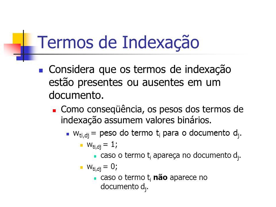 Termos de Indexação Considera que os termos de indexação estão presentes ou ausentes em um documento. Como conseqüência, os pesos dos termos de indexa