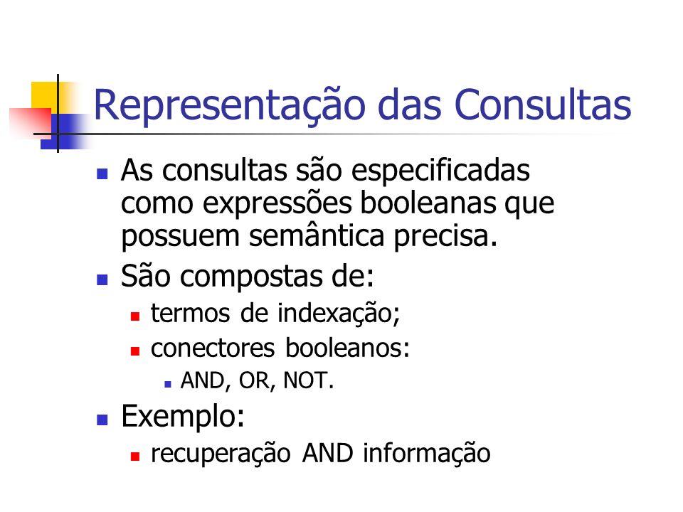 Representação das Consultas As consultas são especificadas como expressões booleanas que possuem semântica precisa. São compostas de: termos de indexa