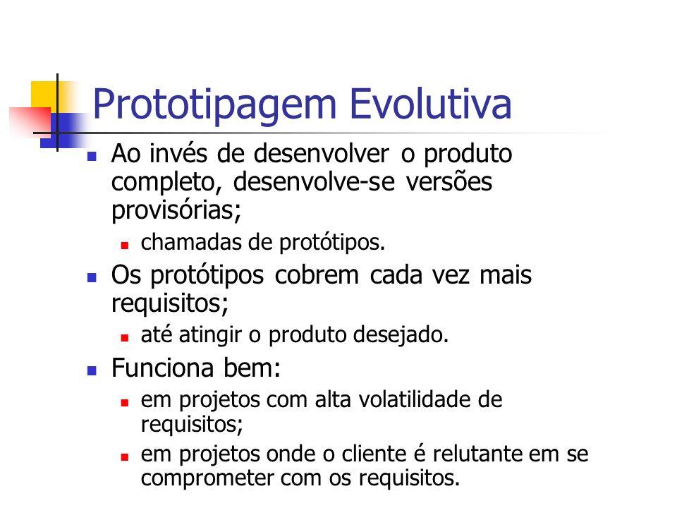 Ao invés de desenvolver o produto completo, desenvolve-se versões provisórias; chamadas de protótipos. Os protótipos cobrem cada vez mais requisitos;