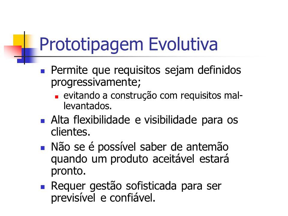Prototipagem Evolutiva Permite que requisitos sejam definidos progressivamente; evitando a construção com requisitos mal- levantados. Alta flexibilida