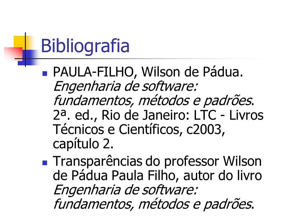 Bibliografia PAULA-FILHO, Wilson de Pádua. Engenharia de software: fundamentos, métodos e padrões. 2ª. ed., Rio de Janeiro: LTC - Livros Técnicos e Ci