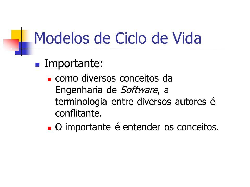 Modelos de Ciclo de Vida Importante: como diversos conceitos da Engenharia de Software, a terminologia entre diversos autores é conflitante. O importa