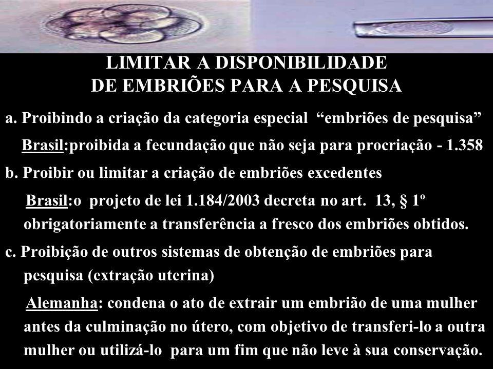 LIMITAR A DISPONIBILIDADE DE EMBRIÕES PARA A PESQUISA a. Proibindo a criação da categoria especial embriões de pesquisa Brasil:proibida a fecundação q