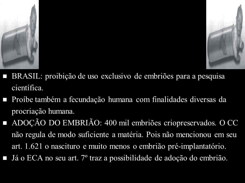 n n BRASIL: proibição de uso exclusivo de embriões para a pesquisa científica. n n Proíbe também a fecundação humana com finalidades diversas da procr