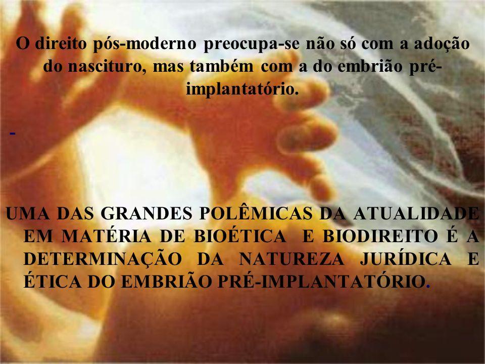 O direito pós-moderno preocupa-se não só com a adoção do nascituro, mas também com a do embrião pré- implantatório. - UMA DAS GRANDES POLÊMICAS DA ATU
