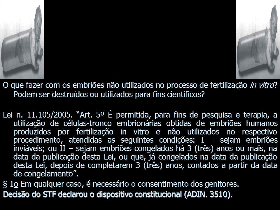 O que fazer com os embriões não utilizados no processo de fertilização in vitro? Podem ser destruídos ou utilizados para fins científicos? Lei n. 11.1