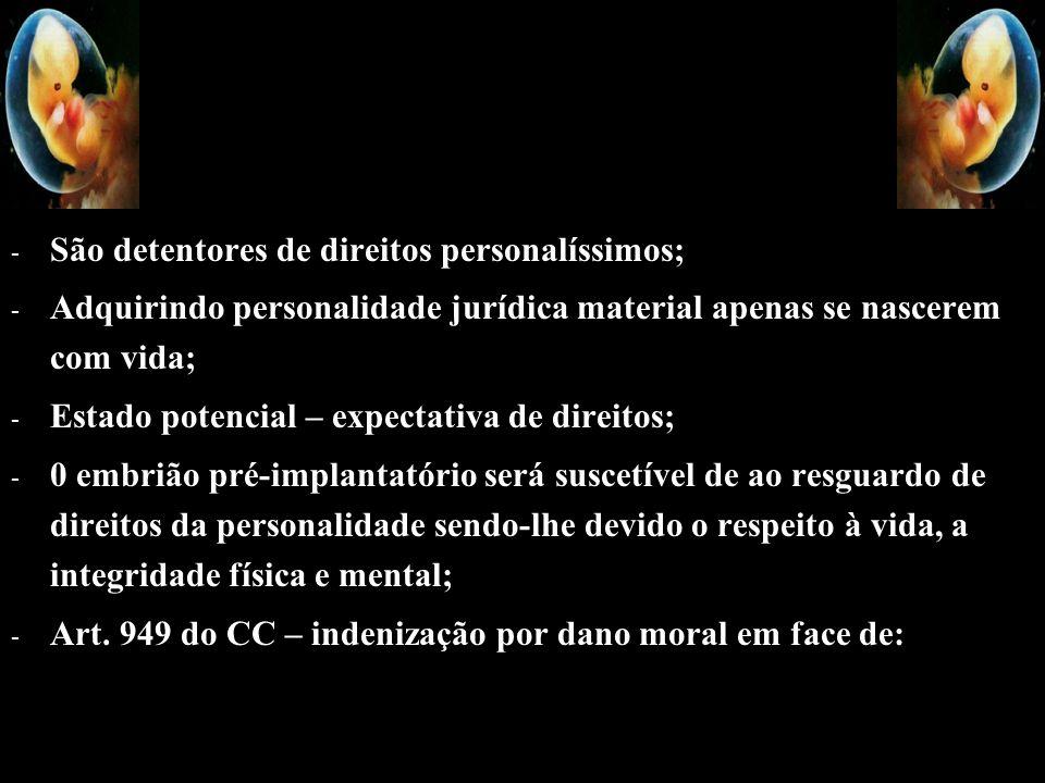 - - São detentores de direitos personalíssimos; - - Adquirindo personalidade jurídica material apenas se nascerem com vida; - - Estado potencial – exp
