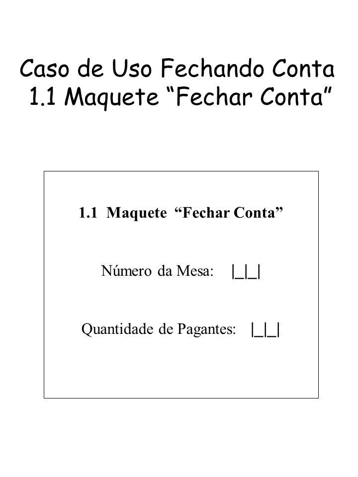 Caso de Uso Fechando Conta 1.1 Maquete Fechar Conta 1.1 Maquete Fechar Conta Número da Mesa: |_|_| Quantidade de Pagantes: |_|_|
