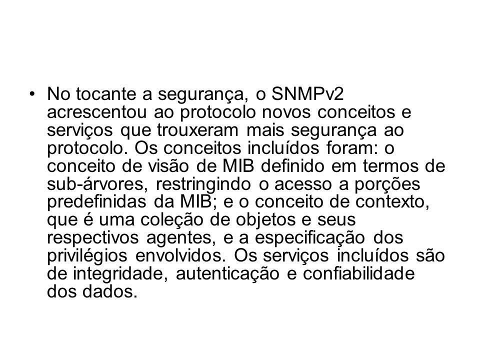 No tocante a segurança, o SNMPv2 acrescentou ao protocolo novos conceitos e serviços que trouxeram mais segurança ao protocolo. Os conceitos incluídos