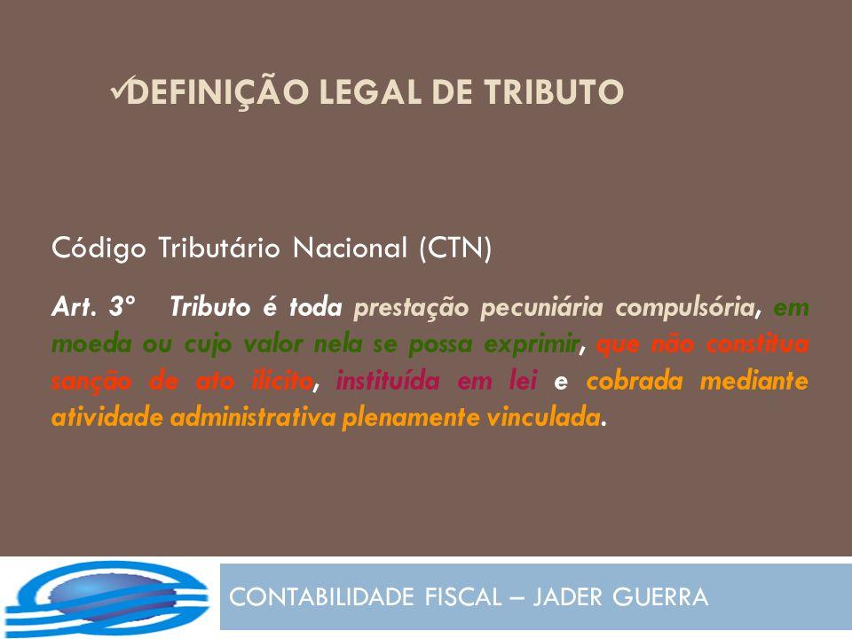 Código Tributário Nacional (CTN) Art. 3º Tributo é toda prestação pecuniária compulsória, em moeda ou cujo valor nela se possa exprimir, que não const