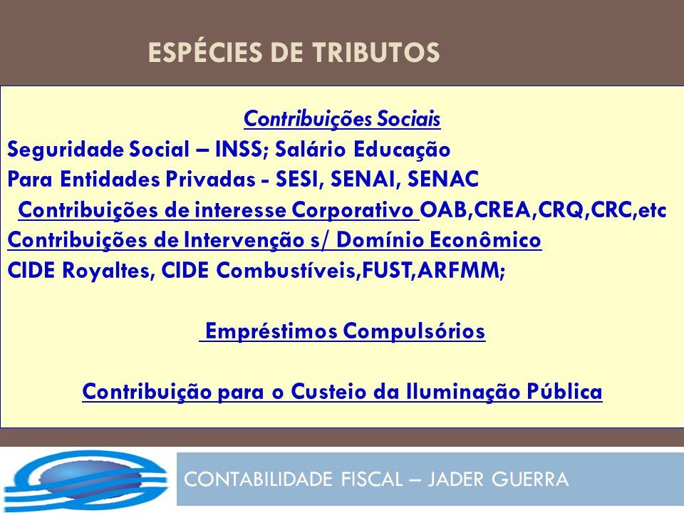 ESPÉCIES DE TRIBUTOS CONTABILIDADE FISCAL – JADER GUERRA Contribuições Sociais Seguridade Social – INSS; Salário Educação Para Entidades Privadas - SE