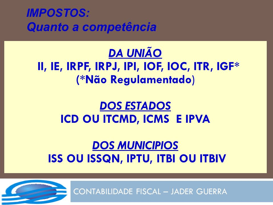 CONTABILIDADE FISCAL – JADER GUERRA IMPOSTOS: Quanto a competência DA UNIÃO II, IE, IRPF, IRPJ, IPI, IOF, IOC, ITR, IGF* (*Não Regulamentado) DOS ESTA