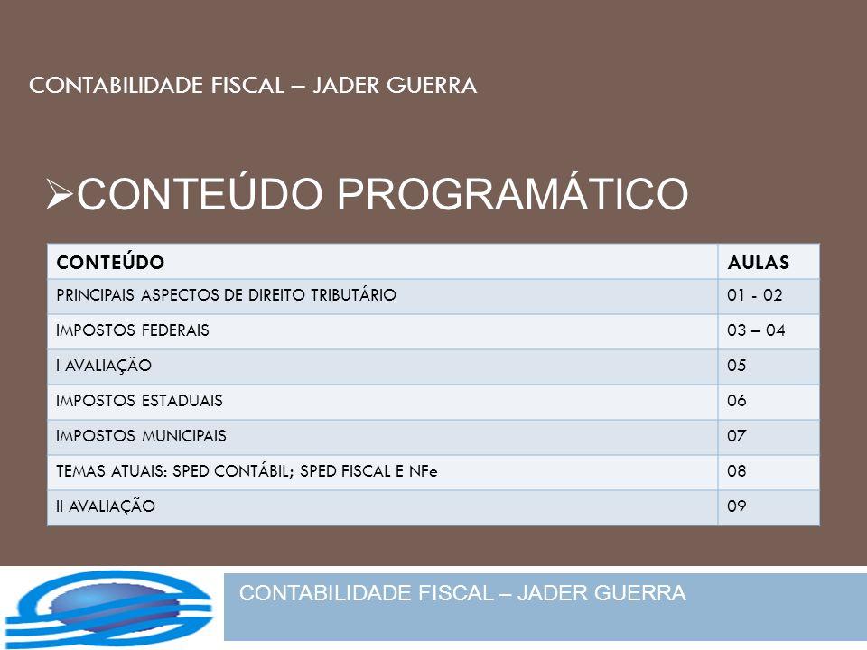 CONTABILIDADE FISCAL – JADER GUERRA CONTEÚDOAULAS PRINCIPAIS ASPECTOS DE DIREITO TRIBUTÁRIO01 - 02 IMPOSTOS FEDERAIS03 – 04 I AVALIAÇÃO05 IMPOSTOS EST