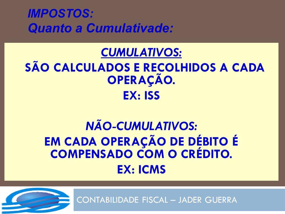 CONTABILIDADE FISCAL – JADER GUERRA IMPOSTOS: Quanto a Cumulativade: CUMULATIVOS: SÃO CALCULADOS E RECOLHIDOS A CADA OPERAÇÃO. EX: ISS NÃO-CUMULATIVOS