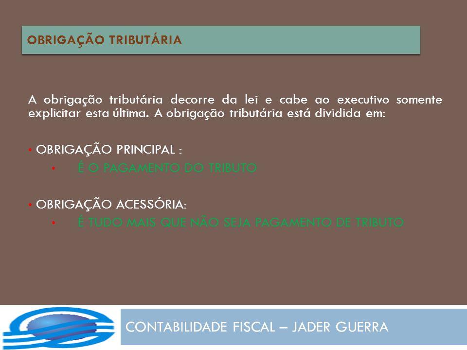 CONTABILIDADE FISCAL – JADER GUERRA A obrigação tributária decorre da lei e cabe ao executivo somente explicitar esta última. A obrigação tributária e