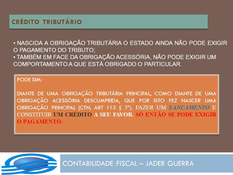 CONTABILIDADE FISCAL – JADER GUERRA CRÉDITO TRIBUTÁRIO NASCIDA A OBRIGAÇÃO TRIBUTÁRIA O ESTADO AINDA NÃO PODE EXIGIR O PAGAMENTO DO TRIBUTO; TAMBÉM EM